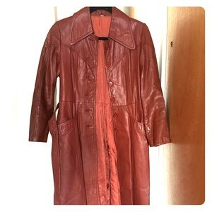 Jackets & Blazers - Vintage 1970's Leather Trench Coat